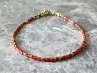 Tiny Red & Gold Seed Bead Friendship Stacker Bracelet | Silver Sensations